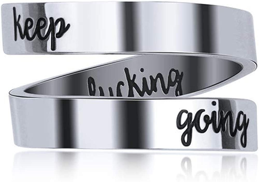 KEPKGO Engraved Spiral low-pricing Wrap Time sale Motivational Ring Gift Inspirational