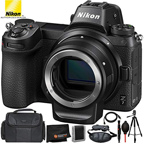 Review Nikon Z7 Mirrorless Digital Camera with FTZ Mount Adapter Kit- 8 PC Bundle+ 75″ Full-Size Tripod+Mini HDMI to Full HDMI Cable+Carrying Case+Padded Wrist/Hand Strap+Microfiber Cleaning Cloth and More