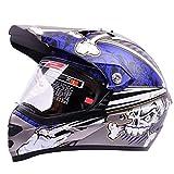 LWYANG Motocicleta clásica de la cara llena Cascos Internacionales de versión for LS2 Repuestos nuevos decorativos (Color : Gray+blue XL)