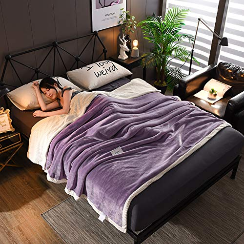 Best Prices! LXLQQ Flannel Blankets Bedding Bed Cover Fluffy Warm Microfiber/Glamour Purple,1.8M2M