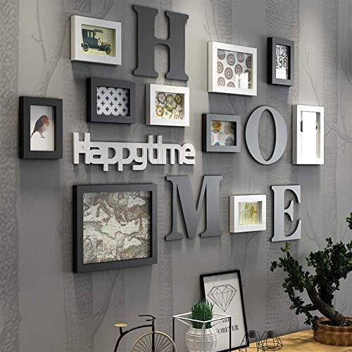 TGFVGHB Marco de fotos de madera maciza grande moderno para sala de estar, pintura a la moda, juego de marcos de fotos de madera para decoración de la pared del hogar (color: blanco)