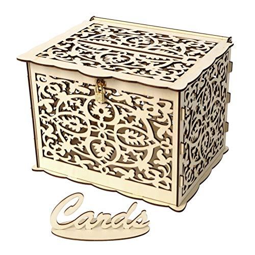 PRETYZOOM Hochzeit Geschenkkarten Box Geldbox mit Schloss Blumen Holz Hochzeit Holz Briefbox DIY Geldgeschenkbox Hochzeitsdeko Vintage 25 x 20 x 18.3 cm