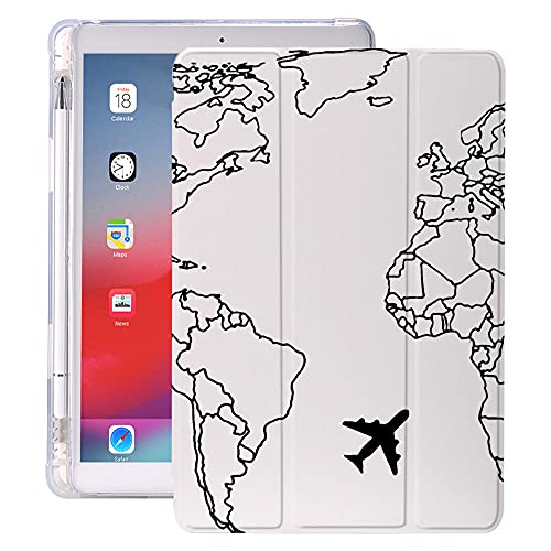 YYLKKB para 10.2 8º 2020 iPad Air 4 Funda con Soporte de lápiz 7.9 Pro 11 2018 Mini 5 10.5 Pro Air 2 3 Funda de Tableta de Viaje de Silicona World Travel-1103731_10.2 Pulgadas 7mo 8