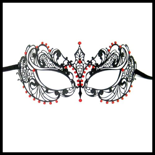 Luxury Mask Women's Laser Cut Metal Venetian Pretty Masquerade Mask, Black/Red Stones, One Size