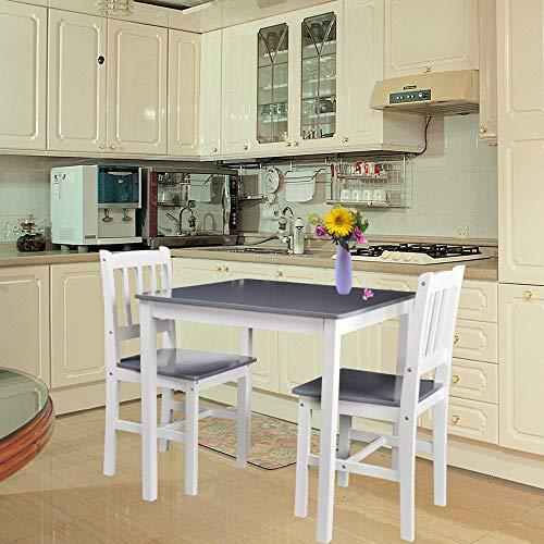Tischgruppe mit 1 Tisch 2 Stühle Essgruppe Esstischset Sitzgruppe Esstischgruppe Esszimmergarnitur für 2 Personen Esszimmergruppe für Küche Wohnzimmer Massivholz 6117-D02 grau