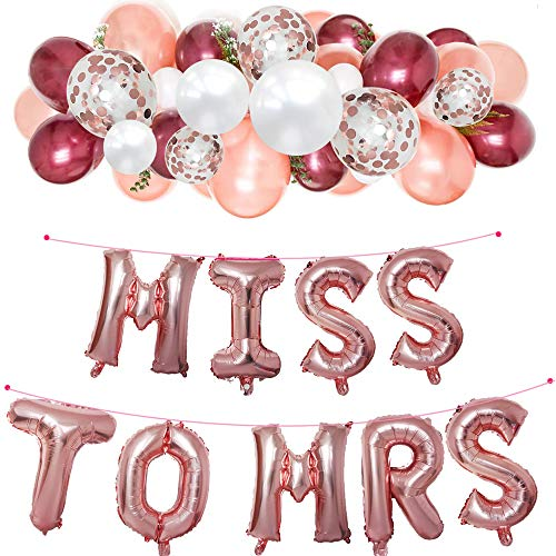 Miss to Mrs Foil Banner Dots Paper Garland Burgundy Rose Gold Confetti Latex Balloons