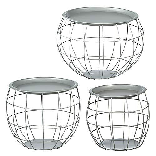 Cepewa Juego de 3 mesas auxiliares de diseño redondo de metal en negro, blanco, gris, plata, cobre o oro, diámetro de 29 cm, diámetro de 38 cm, diámetro de 50 cm (plata)