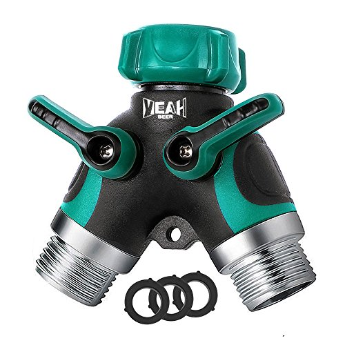YEAHBEER Garden Hose Splitter,2 Way Hose Connector, with 3/4 Connector - Comfortable Rubberized Grip(3 Free Washers)