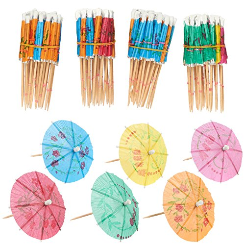Juvale Cocktailschirmchen aus Papier (Set, 200Stück)–Hawaii-Stil - Deko-Picker, Getränke Sonnenschirme - Ideal als Dekoration von Speisen und Getränken - Verschiedene Farben, 10,2cm - AUSVERKAUF