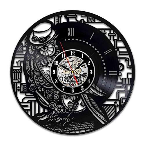 CQAZX Reloj de Pared de Vinilo Steampunk Owl Adornos para la Sala de Estar Regalos Originales Cumpleaños Su Maestro Decoración Hogar Mujeres Accesorios