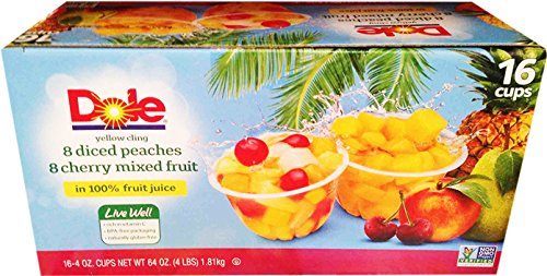 Dole Diced Peaches Cherry Mixed Fruit Variety Pack 164oz Cups