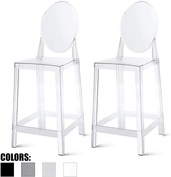 2xhome Set Of Two 2 Clear 25 Seat Height Barstool Modern Ghost Side Bar Stool Counter Stool Accent Stool Lounge No Arms Armless Arm Less Chairs Seats Mid Century Design