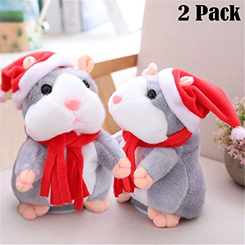 Funfunman 2PCS Cheeky Hamster Talking Mouse pet Christmas Toy Speak Sound Record Hamster Gift - Gray