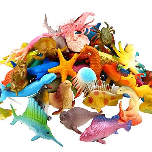 Meerestiere Spielzeug, 52 Stück Ausgewählte Mini Vinyl Plastik Tiere als Spielzeugset, Yeo National Spielzeuge Realistisch Unterwasser Tiere Badespielzeug Figuren für Kinder Zum Lernen, Party, Kuchen