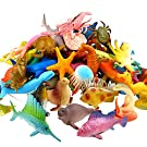 Funcorn Toys Ocean Sea Animal, 52 Pack Assorted Mini Vinyl Plastic Animal Toy Set, Realistic Under The Sea Life Figure Bath Toy for Child Educational Party Cake Cupcake Topper,Octopus Shark Otter