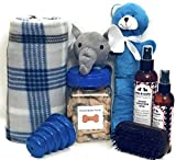 Wolfe & Sparky Gift Boxed Deluxe Blue Dog Gift Includes a Classy Dog Blanket, 2 Bottles of Wolfe & Sparky Natural Grooming Products, Healthy Peanut Butter Dog Treats, and 2 Toys,!!! …