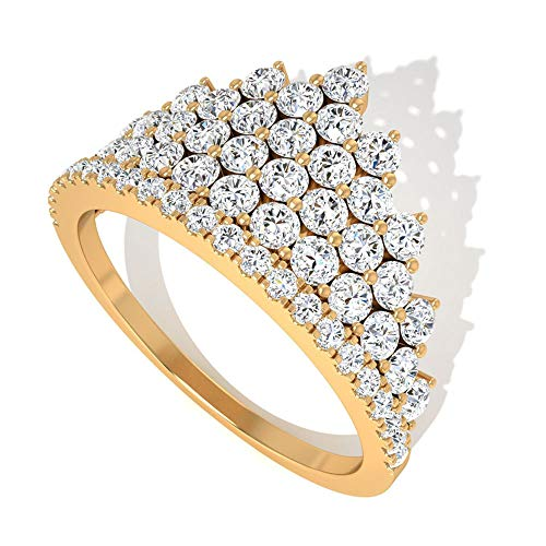 IGI - Anillo de compromiso de diamante certificado, diamante IJ-SI, claridad de color, anillo de boda, anillo único de corona de princesa, regalo de aniversario para ella, 10K Oro amarillo, Size:EU 50