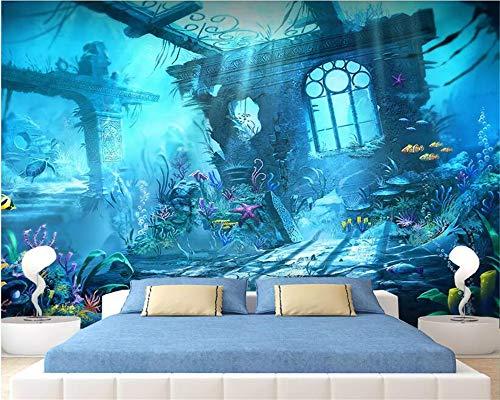 ZAMLE Individuelle 3D-Tapete Kinderzimmer Wandverkleidung Tapete Unterwasserwelt Unterwasser Burg 3D Kind Fototapete, 200X140 Cm (78,7 X 55,1 In)
