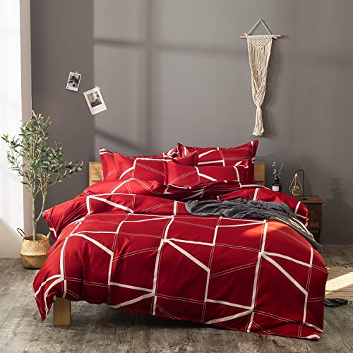 3-Pieces Duvet Covers, Simplicity Design Reactive Printing Duvet Cover Sets 100% Polyester (Queen, Red)