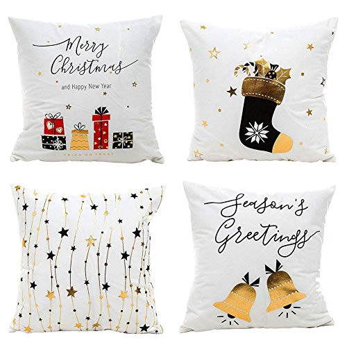 Gspirit Navidad Cojines Sofas 4 Pack algodón Lino