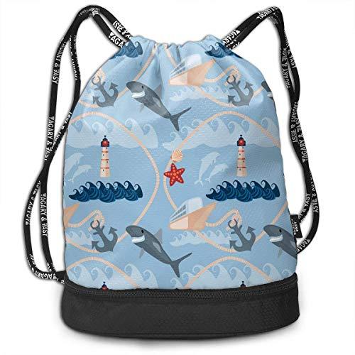 Blue Sea - Mochila multifuncional unisex con cordón y doble hombro, para escuela, deporte, gimnasio, cierre de cuerda ajustable