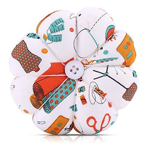 Cojín de aguja de coser Cojín de punto de cruz DIY Costura de costura Cojín de aguja Cojín de pin cubierto de tela para manualidades de costura DIY con cinturón de muñeca elástico(#2)