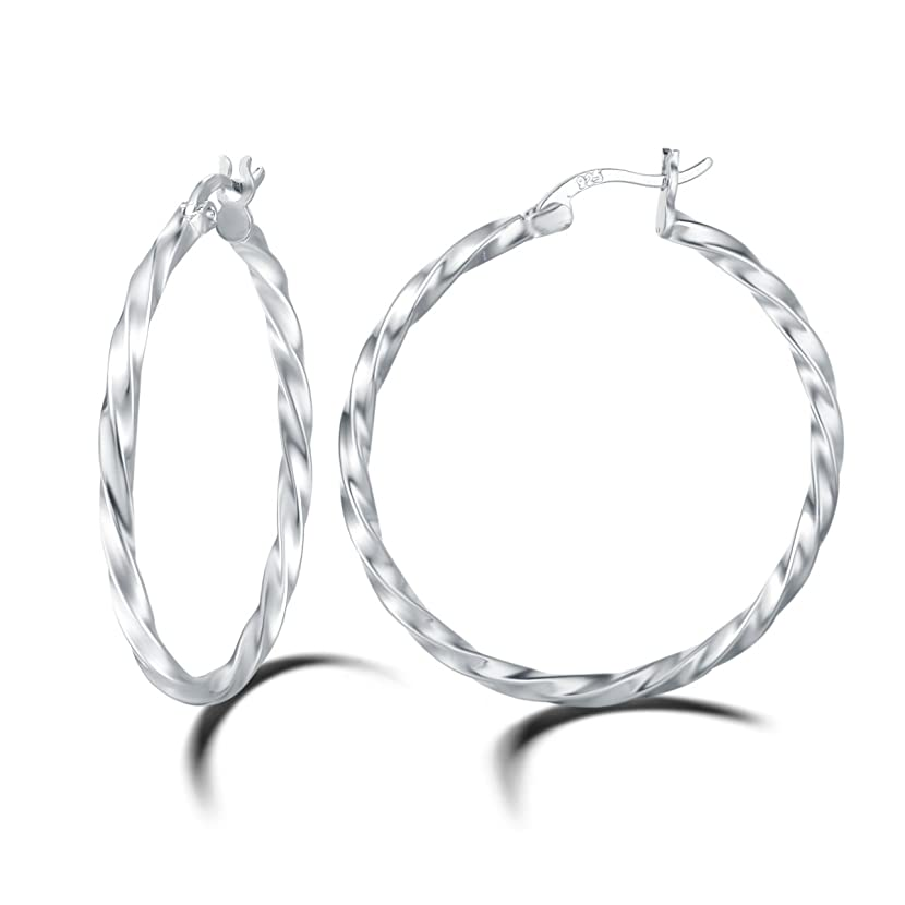 Carleen White Gold Plated 925 Sterling Silver High Polished Twisted Round Click-Top Large/Big Huggie Piercing Hoop Earrings for Women Girls