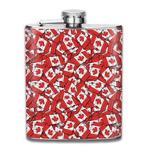 Flask Canadese Vlag Patroon RVS Kleine Hip Flask Mens Lekvrij Vlagon Outdoor Draagbare Flask voor Alcohol Whiskey Rum en Vodka