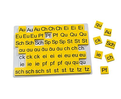 Betzold 86988 - Lese-Magnetbox Buchstabenergänzungssatz, 63 magnetische Buchstabenblöcke zum Lesen Lernen