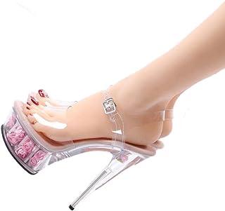 Ladies OpenToe Platform Sandals,Summer Transparent Rose Sandals,15Cm Crystal Super High Heel Sandals,Buckle Stilettos,Pink,46 EU