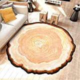 LAGHCAT Tree Rugs 3D Annual Ring Non-Slip Area Rug for Living Room, Bedroom, Desk, Chair Mats, Round, Diameter-59 Inches