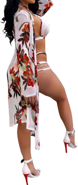 Swim Vests Swimsuit 2018 Bikini Printing Long Sleeve Coat Coat Split Two Pieces Summer Fashion Sexy Sand Beach Swimwear(S,M,L,XL) (Size   XL)