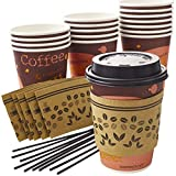 Leak-free Decorative 12 Oz Disposable Coffee Cup 50Pk Set With Sleeves, Lids, and Stirrers. Recyclable and Stylish Brown Paper Cup Bundle for Party, Office, Business or Cafe Hot Beverages and Drinks