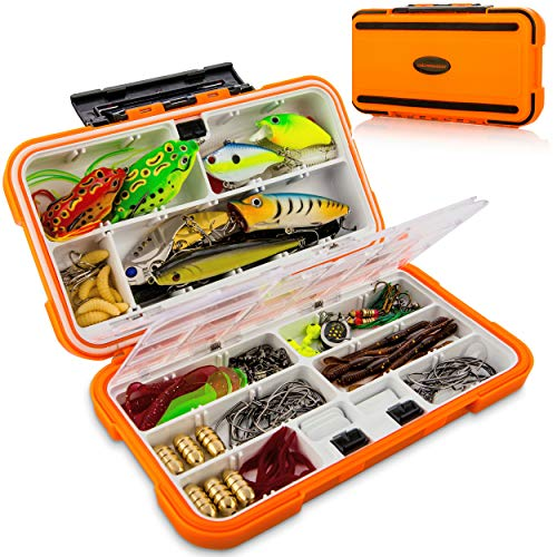 catchmeister Fishing Lures Baits Tackle Box and Lure Kit Piece Saltwater & Freshwater Fishing Rig Including Crankbaits, Plastic Worms, Jig Hooks, Topwater Lures (Ultimate 117 Pcs)