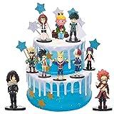 9 PCS My Hero Academia Happy Birthday Cake Topper, Dessert Table Decorations, Birthday Party Supplies, Children's Mini Toy Cake Top Hat