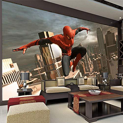 ARXBH behang zelfklevende muur schilderij spin held muur muurschildering Superhero foto behang 3D behang jongen kamer decoratie muur kunst kinderen slaapkamer bank achtergrond muur 520x290 cm (WxH) 11 stripes - self-adhesive