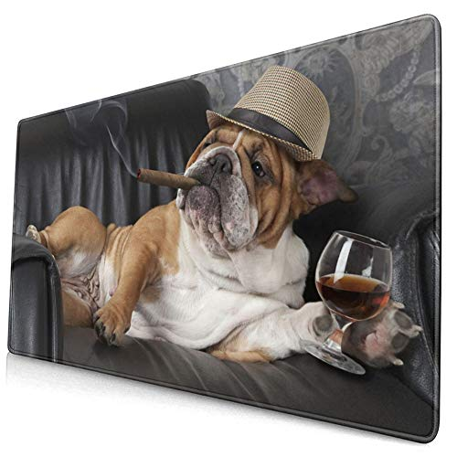 Mouse Pads Mat with Stitched Edges English Bulldog Smoking Drink Wine Dog Natural Non-Slip Rubber Mousepad Desk Mat for Office Laptop Computer & Pc 15.8x29.5 In