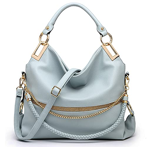 Dasein Hobo Bags for Women Soft Faux Leather Purses and Handbags Large Hobo Purse Shoulder Bag with Rhinestones (Blue)