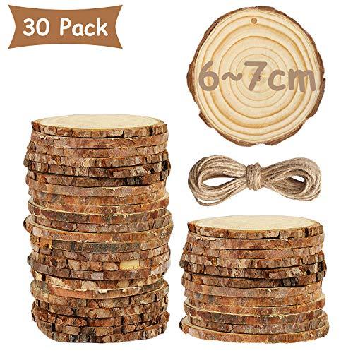 Gxhong 30 Pezzi Dischi in Legno, ceppi di Legno con Corteccia Non trattata e Corda di Juta da 10 m per Artigianato Fai-da-Te,Intagliare,Disegnare e De