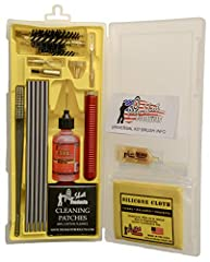 Compact design box kit contains everything you need to cleaning a firearm; All Pro-Shot products Made in USA from USA components The Universal Box Kit includes: Premium Stainless Micro-Polished Gun Cleaning Rods have a (32.5inch/82.55cm working lengt...