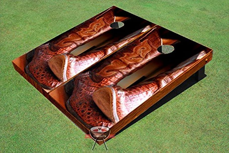 湿った差別的放散するカウボーイブーツ# 1テーマCorn穴?ボードCornhole Game Set