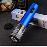 T-XYD Sacacorchos eléctrico, una Botella de Vino abridor de Acero Inoxidable Batería Seca Creative Kitchen Sistema del Vino para los Amantes del Vino la celebración de días (4 Colores),Azul