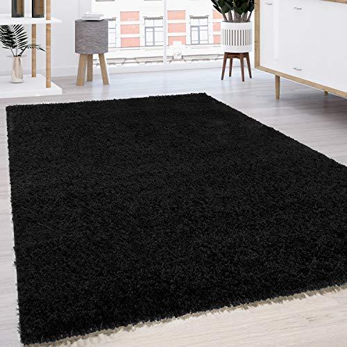 Paco Home Tapis Shaggy Longues Mèches en Différentes Tailles Et Coloris, Dimension:160x220 cm, Couleur:Noir