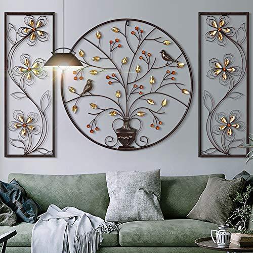 BCXGS Decoración de Pared de Metal, Decoraciones del Arte, árbol de la Vida, Escultura de Metal Hierro Cristal Decoración del hogar, 62 * 62cm