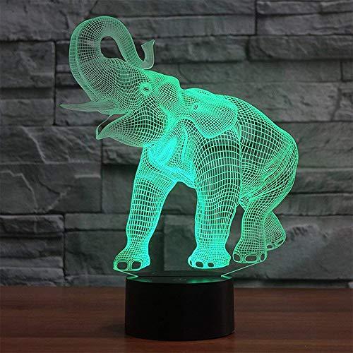 Galaxer Ilusión 3D Luz Nocturna Unicornio Lámpara 7 Colores Control Táctil 3 Baterías AA o USB con Buena Imagen de Elefante Panel Acrílico Base ABS para Decoración de la Noche de Mesa