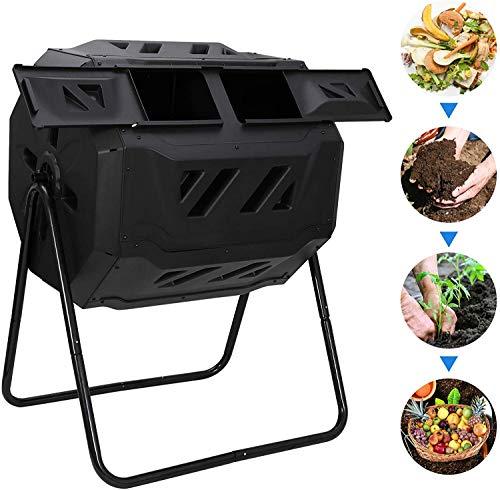Buy Bargain FMXYMC Large Composting Tumbler 43 Gallon Capacity Composter, Dual Chamber Compost Bin, ...