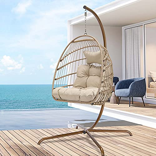 Swing Egg Chair with Stand Indoor Outdoor Wicker Rattan Patio Basket Hanging Chair with UV Resistant Cushions Aluminum Frame 350lbs Capaticy for Bedroom Balcony Patio (Cream)
