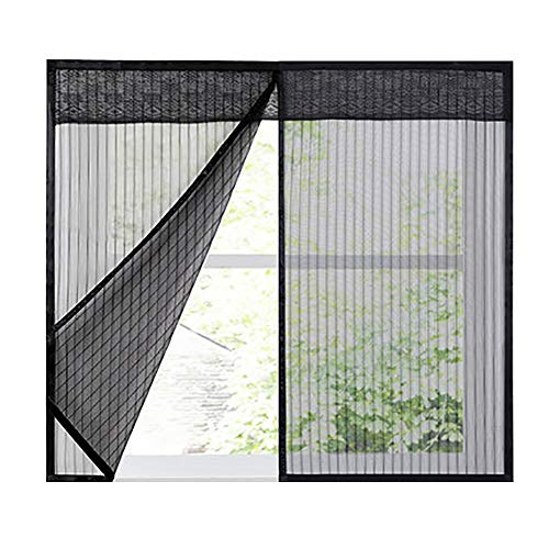 GettyGears Magnetic Window Screen Mesh Anti Fly Mosquito Insect Curtain with Magnets for Window Door Full Frame Screen Door Net for Windows,No Drilling,Hook & Loop Tape Install 39'x78'Inch Black