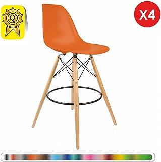 Decopresto 4 X Chaise Haute Bar Tabouret Scandinave Orange Flash Pieds Bois Naturel DP DSWHL