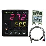 Inkbird 温度コントローラ デジタル温度調節器 PID サーモスタット SSRソリッドステートリレー K熱電対 (ITC-100VHコントローラ+25DA SSR+Kセンサー)
